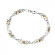 Diamond Trinity Knot Two Tone Sterling Silver Bracelet