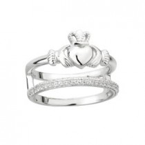 Double Band Sterling Silver Irish Claddagh Ring