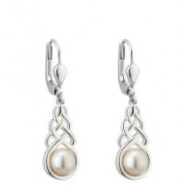 Freshwater Pearl Irish Celtic Knot Earrings