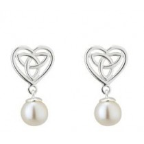 Freshwater Pearl Irish Trinity Knot Heart Earrings