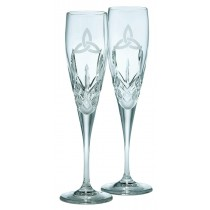 Galway Crystal Trinity Knot Flutes Pair