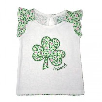 Green Shamrock Girls Irish Top
