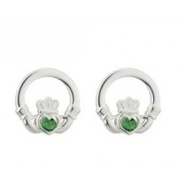 Green Crystal Irish Claddagh Stud Earrings