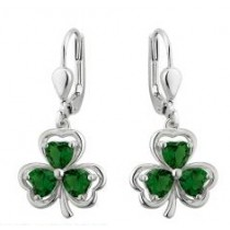 Green Crystal Irish Shamrock Drop Earrings