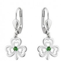 Green Crystal Irish Shamrock Earrings Sterling Silver