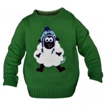 Green Ireland Knit Sheep Kids Irish Sweater
