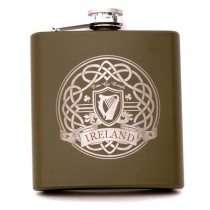 Green Irish Celtic Harp Flask