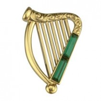 irish harp brooch with stones