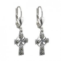 Irish Celtic Cross Marcasite Sterling Silver Drop Earrings