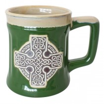 Irish Celtic Cross Pottery Mug