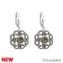 Irish Celtic Knot Marcasite Marble Drop Earrings Sterling Silver