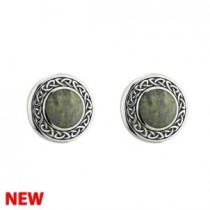 Irish Celtic Marble Stud Earrings Sterling Silver