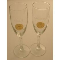 Irish Champagne Flute Glasses Happy Anniversary Gold Pewter Trinity Knot