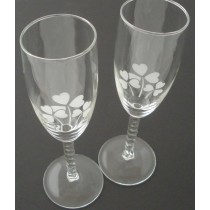 Irish Champagne Flute Glasses Pair Etched Shamrocks