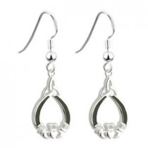 Irish Claddagh Connemara Earrings Sterling Silver