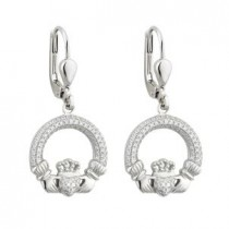 Irish Claddagh Earrings Sterling Silver CZ
