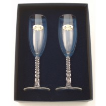 Irish Flute Glasses Pair with Pewter Claddagh Emblem