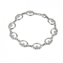 Irish Claddagh Links Sterling Silver Bracelet