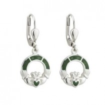 Irish Claddagh Marble Sterling Silver Earrings
