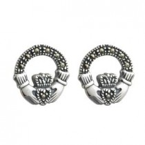 Irish Claddagh Marcasite Stud Earrings Sterling Silver