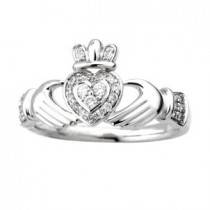 Irish Claddagh Ring 14k White Gold with Diamonds