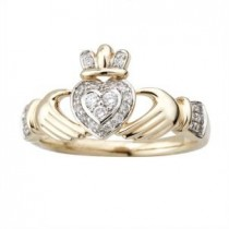 Irish Claddagh Ring 14k Yellow Gold with Diamonds