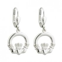 Irish Claddagh Medium Drop Earrings Sterling Silver