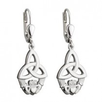 Irish Claddagh Trinity  Drop Earrings Sterling Silver