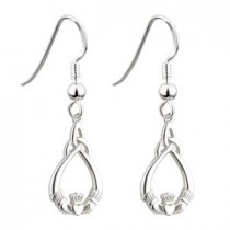 Irish Claddagh Trinity Earrings Sterling Silver Fish Hook