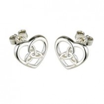 Irish Heart Trinity Knot Earrings Sterling Silver