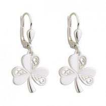 Irish Celtic Shamrocks Earrings Sterling Silver