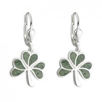 Irish Marble Shamrock Drop Earrings Sterling Silver
