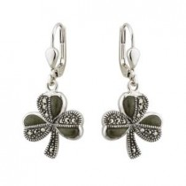 Irish Marcasite Shamrock Drop Earrings Sterling Silver