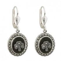 Irish Marcasite Shamrock Earrings Sterling Silver Oval