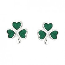 Irish Shamrock Earrings Sterling Silver Green Enamel