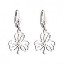 Irish Shamrock Open Style Sterling Silver Drop earrings