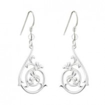Irish Shamrock Spiral Design Sterling Silver Earrings