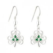 Irish Shamrock Sterling Silver Green Crystal Drop Earrings