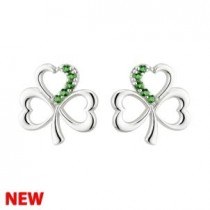 Irish Shamrock Sterling Silver with Green Crystal Stud Earrings