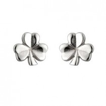 Irish Shamrock Tiny Earrings Sterling Silver