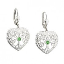 Irish Tree of Life Heart Earrings Sterling Silver