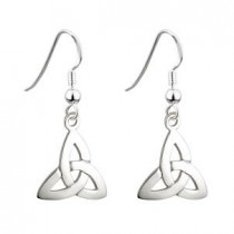 Irish Trinity Knot Drop Earrings Sterling Silver