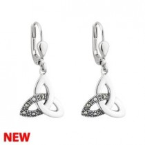 Irish Trinity Knot Marcasite  Earrings Sterling Silver Drop