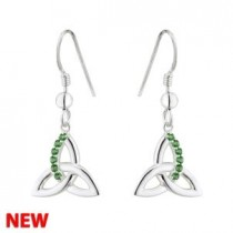 Irish Trinity Knot Sterling Silver Green Crystal Drop Earrings
