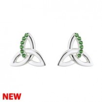 Irish Trinity Knot Sterling Silver Green Crystal Inlay Stud Earrings