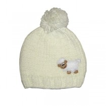 Kids Cream Irish Knit Hat with Sheep
