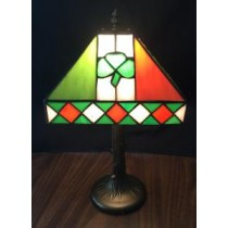 Multi Colored St. Patricks Irish Stained Glass Lamp