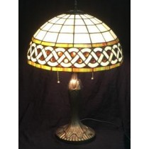 Multi Colored  Irish Celtic Amber Gem Stained Glass Lamp