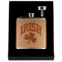 Leather Irish Shamrock Flask Funnel Box Set