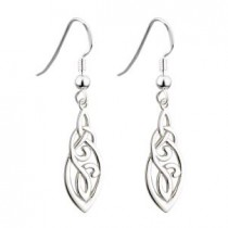 Long Irish Trinity Knot Earrings Sterling Silver